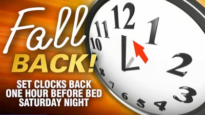 Daylight Savings Time Ends Nov. 3 at 2 a.m.
